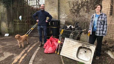 Friends of Audley Park and the litter including an abandoned sink