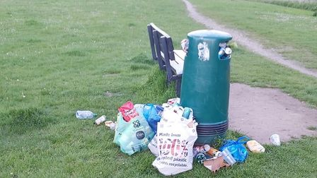 Overflowing bins at Anderson's Park and Wensum Nature Trail over the Bank Holiday