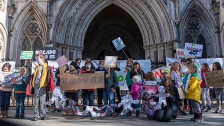 Children from Yerbury in Foxham Road, Archway staged a protest at the Royal Courts of Justice agains