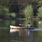 People enjoying the good weather in Wanstead and Woodford. Rowing on Wanstead Flats in the early eve