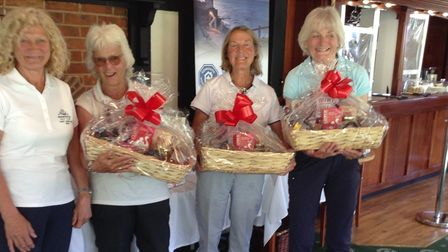 Lady Captain Mo Kendall (far left). Winning Team (L to R) Penny Lyne, Hilary Tutcher and Ros Eaton