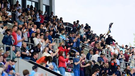 Exeter Chiefs fans as fans return to Sandy Park as COVID restrictions are eased during the Gallagher