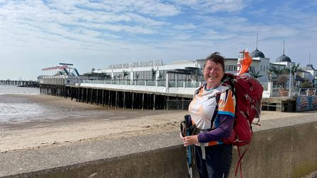 Karen Penny in Clacton on Sea before she reached the Shotley Peninsula
