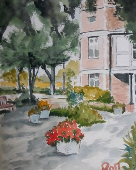 Ron Filer also painted this picture of the Allan Burgess Centre where he volunteers for Age UK.