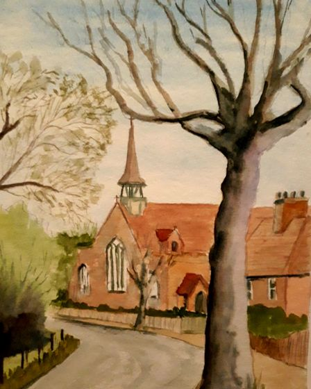 Volunteer Ron Filer painted this picture of St Gabriel's Church in Aldersbrook.