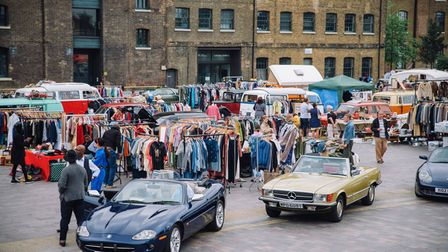A vintage car boot sale in King's Cross.