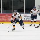 Raiders forward Brandon Ayliffe in action against Telford Tigers during the Spring Cup at the Sapphire Ice and Leisure Centre