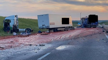 The A14 atGodmanchester had to be resurfaced after a lorry crash saw tomato puree spilled across the road.