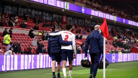 England's Trent Alexander-Arnold leaves the pitch after picking up an injury during the Internationa