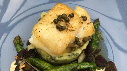 Plaice in brown butter with asparagus, morels and Jerseys