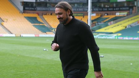 Norwich Head Coach Daniel Farke looks happy after the Sky Bet Championship match at Carrow Road, Nor