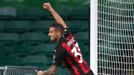 AC Milan's Rade Krunic (left) celebrates scoring his side's first goal of the game during the UEFA E