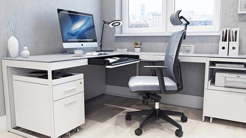 Desk, chair and storage filing cabinets for a home office from BDI Furniture in Lancashire, England.