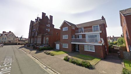 The block of flats which will be demolished make way for three new townhouses, to the right of the former Burlington Hotel.