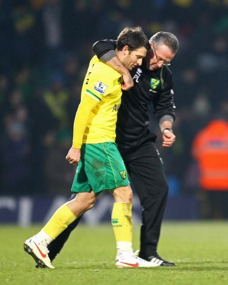 Norwich Manager Paul Lambert with Wes Hoolahan