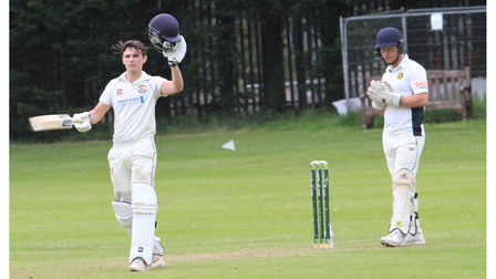 Tom Hall's century was his second in as many games.