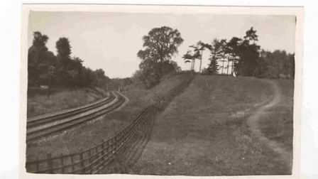 The old Huntingdon railway line at Castle Hill, which is now part of the A14.