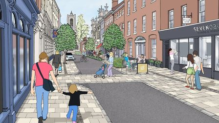 Artist's impression of revamped St Giles Street in Norwich