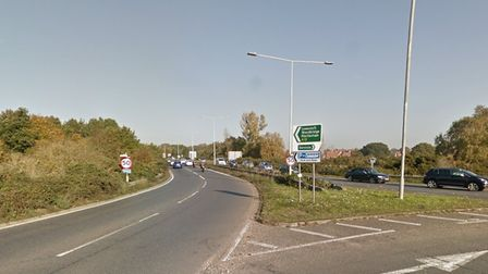 The crash happened on the stretch of the A12 northbound between Tesco and the Suffolk police headquarters