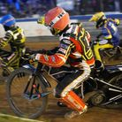 Heat 13 action with Scott Nicholls inside Danny King and Richard Lawson.