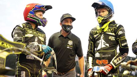 Cameron Heeps, Witches team manager Ritchie Hawkins and Anders Rowe pictured ahead of heat 12.