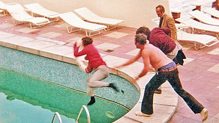 Roy Clarke gets thrown into the pool for talking tactics!