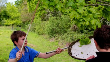 A boy with a beating stick under an oak tree. He is preparing to give the tree a whack and catch the debris in a net