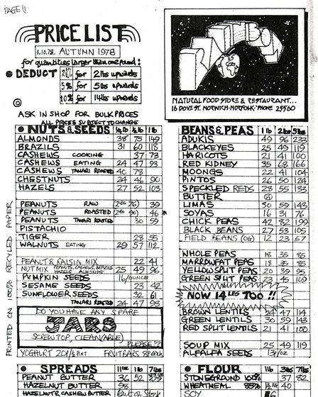 1978 price list from the Rainbow Wholefoods