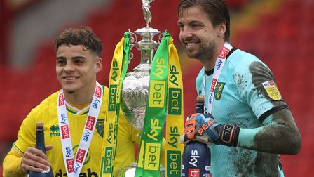 Norwich City's Tim Krul, pictured with Max Aarons