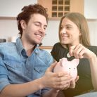 Home budget, family finance with piggy bank