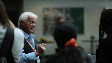 Roger Morris talking to students at Elstree Screen Arts Academy
