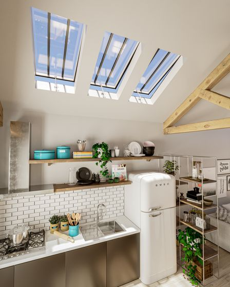 Kitchen skylight from The Rooflight Company in Oxfordshire.
