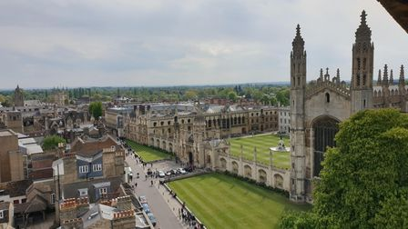 View from Great St Mary's tower in Cambridge.