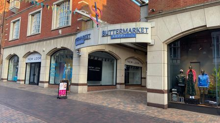The north entrance to the Buttermarket in Ipswich as it currently looks.