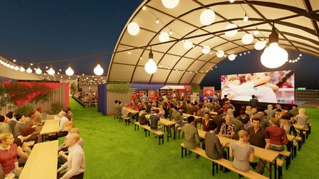 An artist impression showing a beer hall and garden in Kentish Town