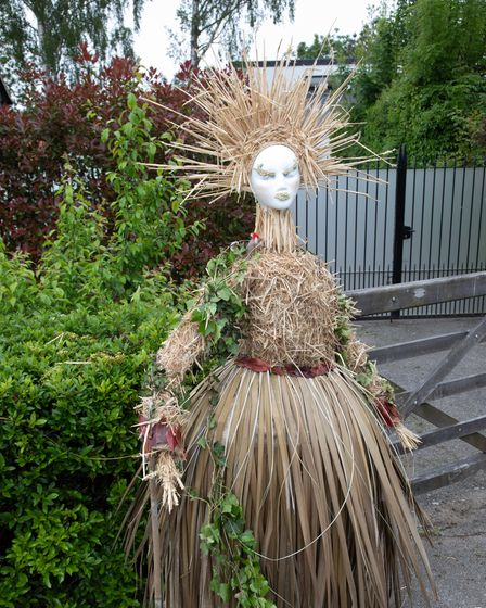an exotic lady scarecrow construction