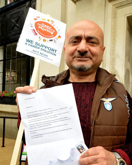 Stephen Behnam of Da Mario's Highbury Barn with an anonymous letter sent to him at the shop