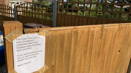 A sign outside Jacky Offord's house reacting to the damage of her Little Free Library