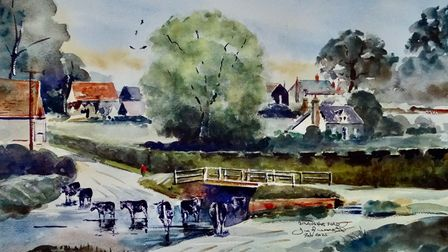 Watercolour of The ford at Braughing