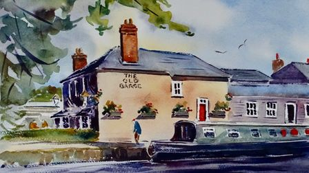 watercolour of The Old Barge, Hertford