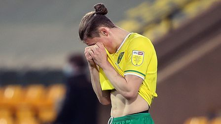Przemyslaw Placheta of Norwich looks dejected at the end of the Sky Bet Championship match at Carrow