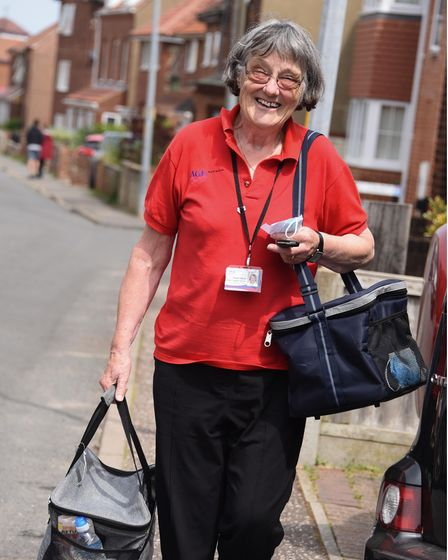 Hazel Harris, support worker at Age Concern North Norfolk, sets out to deliver the meals in their 'M