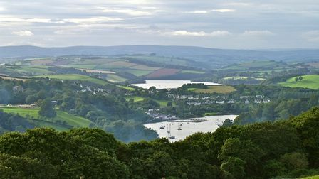 Looking up the River Dart towards Dittisham and Dartmoor in the background