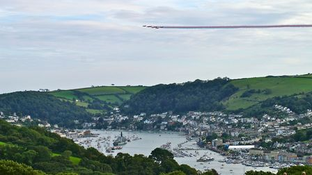 The Red Arrows crossing the skyline over Kingswear and Dartmouth