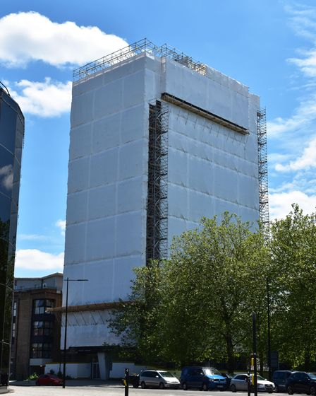 Residents have been left in shockafter the entirety of St Francis Tower in Ipswich has been wrapped in plastic
