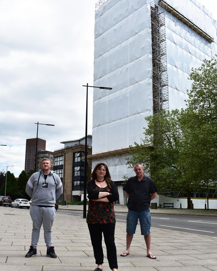 Tenants at St Francis Tower in Ipswich are outraged after the entire building has been wrapped in plastic sheeting