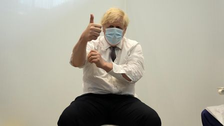 Prime Minister Boris Johnson gives a thumbs up after receiving his second jab of the AstraZeneca vaccine