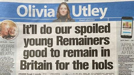 The Sun's Olivia Utley mocked Britons for holidaying in the EU enjoyed a French trip. Picture: Twitt