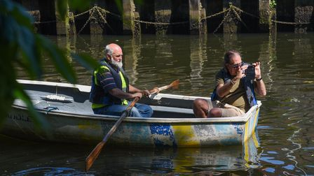 A Green Party litter pick taking place in Norwich near Pulls Ferry on the River Wensum. Picture: Dan