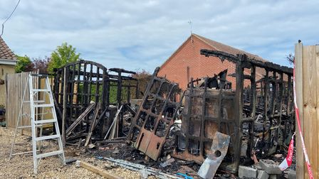 The remains of Ken Weatherly's workshop and studio in Cromer which were destroyed by a fire on Saturday June 5.